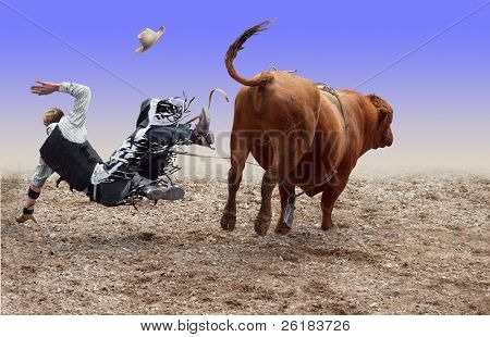 Cowboy Falling of a Bucking Bull isolated with path