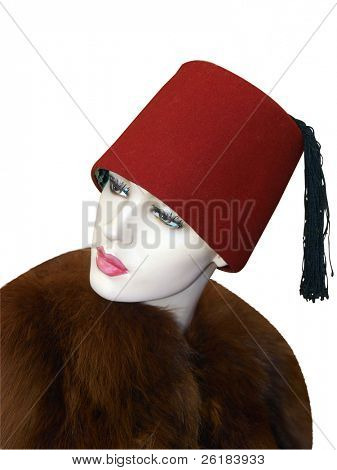Female Mannequin Wearing a Fez isolated with clipping path