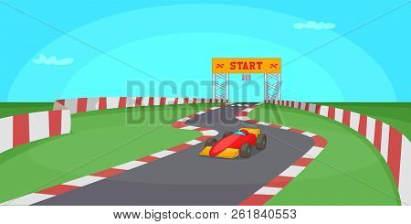 Race Competition Horizontal Banner Concept. Cartoon Illustration Of Race Competition Horizontal Bann