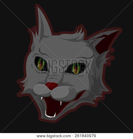 The Head Of An Evil Demonic Cat With An Evil Grin.