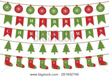 Bright Christmas Garlands. Merry Christmas Background With Xmas Bunting Flags, Balls, Christmas Tree
