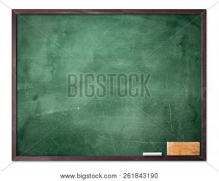 Teacher Day Concept: Green Board, Chalkboard And Eraser Isolated On White Background