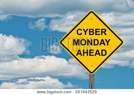 Cyber Monday Ahead Caution Sign Blue Sky Background