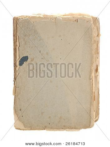 sheets of  very old book with great textural edges isolated on white