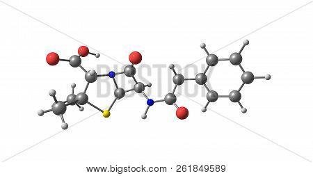 Benzylpenicillin Molecular Structure Isolated On White