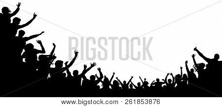 Cheers Party, Applause. Audience Applause Hand Up. Cheerful People Crowd Applauding, Silhouette Vect
