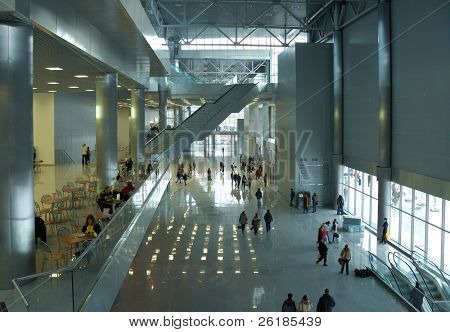 modern office interior, moving crowd,silhouettes