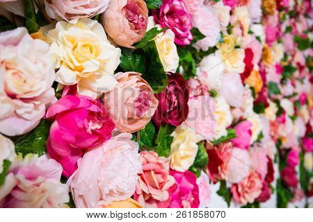 Wedding Decoration, Spring And Summer Concept - Close Up Of Colorful Artificial Flowers Wall