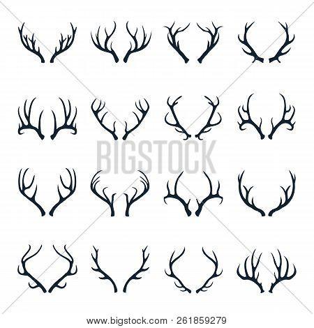 Deer Antlers Icon Set Vector Illustration. Deer Horn Icon Vector Set