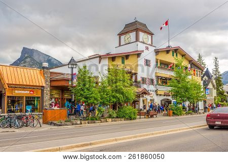 Banff,canada - June 30,2018 - In The Streets Of Banff. Banff Is A Town Within Banff National Park In