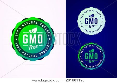 Gmo Free Vector Badge For Natural Product.