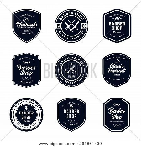 Vintage Barber Shop Badges Vector Set. Retro Barber Shop Logo Design