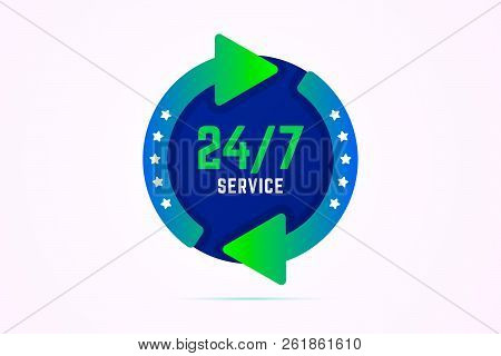 24 7 Hours Service Vector Sign With Green Arrows.
