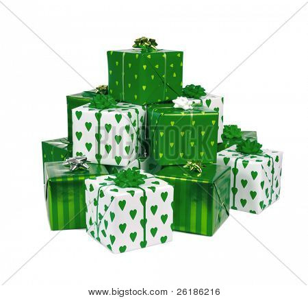 heap of green box gifts isolated on white