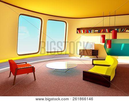 Living Room In Retrofuturism Style. 3d Illustration.