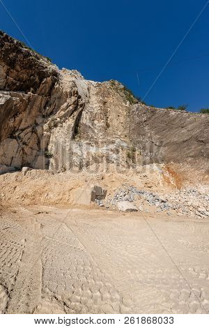 Quarry of white Carrara Marble in the Apuan Alps (Alpi Apuane). Tuscany, (Toscana), Italy, Europe poster