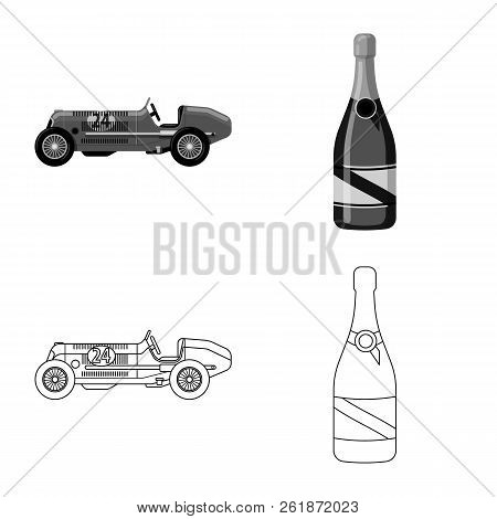 Isolated Object Of Car And Rally Logo. Set Of Car And Race Stock Vector Illustration.
