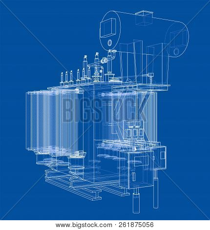 High-voltage Transformer Concept. Vector Rendering Of 3d. Wire-frame Style. The Layers Of Visible An