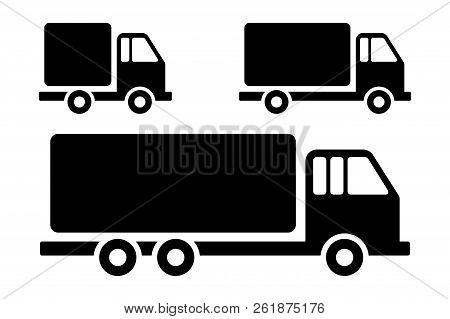 Set Silhouette Delivery Truck Flat Style Illustration For Web, Mobile, Application And Graphic Desig