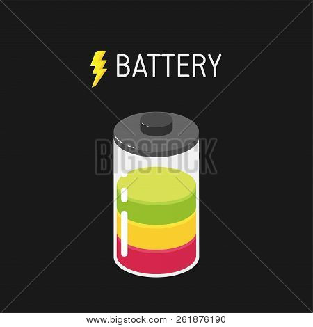 Vector Battery Illustration With Three Segments - Red, Yellow And Green.