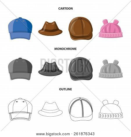 Vector Illustration Of Headgear And Cap Sign. Set Of Headgear And Accessory Stock Vector Illustratio
