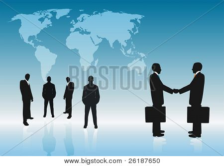 Group of business with the digital world as a background.