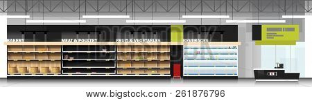 Interior Scene Of Modern Supermarket With Empty Shelves And Cashier Counter , Vector , Illustration