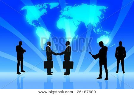 Group of business with the digital world as a background 2
