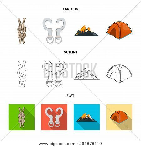 Isolated Object Of Mountaineering And Peak Logo. Collection Of Mountaineering And Camp Vector Icon F