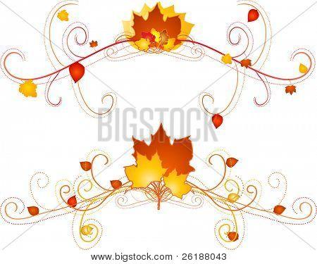 colorful autumn floral scroll design vectors poster