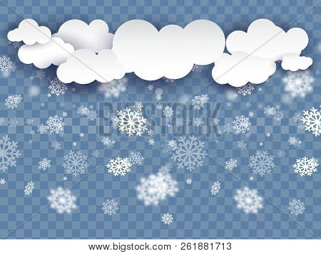 Vector Heavy Snowfall, Snowflakes In Different Shapes And Forms. Many White Cold Flake Elements On T