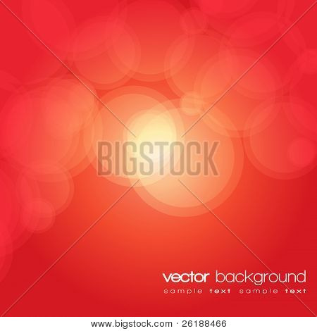 Glittering red lights background with text - vector