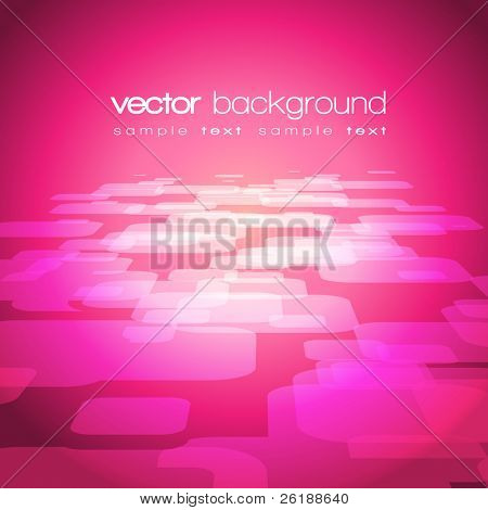Vector 3D square on the purple-pink background with text