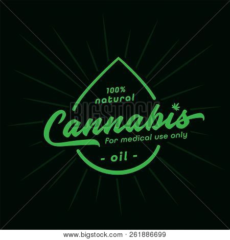 Medical Oil Design Template. Cannabis Oil. Vector And Illustration