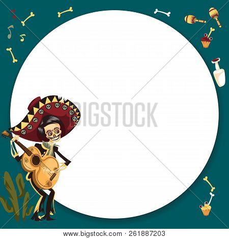Day Of The Dead Man Skeleton Poster With Copyspace