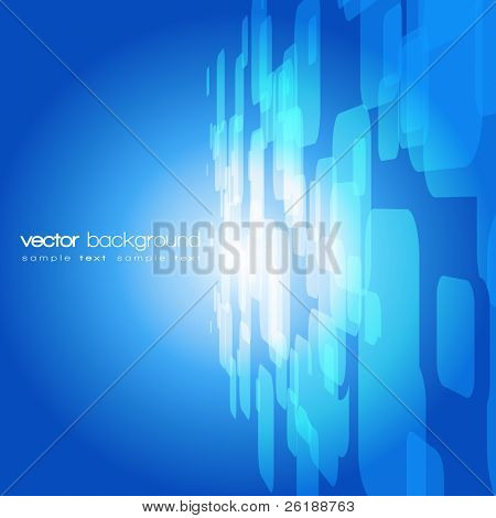 Vector 3D blue on the orange background with text