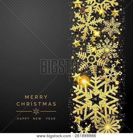 Christmas Background With Shining Golden Snowflakes And Snow. Merry Christmas Card Illustration On B