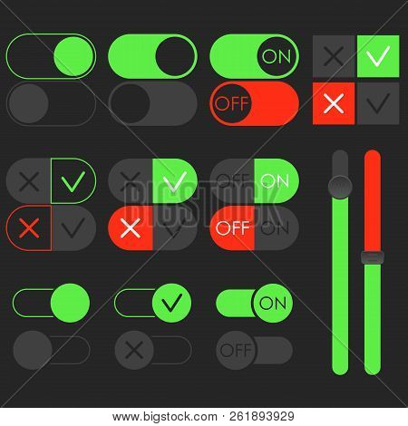 Toggle Switch Set, Dark Theme. On And Off Green Sliders. Template For App And Website. User Interfac