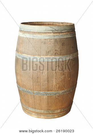 Old Wood Barrel Isolated