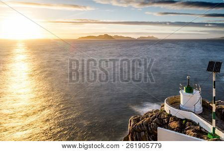 My Favorite Playgroud. Sunset At Monteferro Lighthose, Beautiful View To Cies Island, In Nigran, Gal