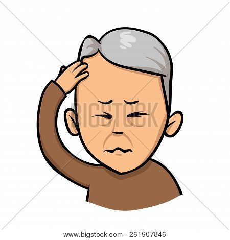 Senior Man Holding Hand To His Head. Forgetfulness, Headache. Flat Vector Illustration. Isolated On