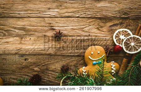 Christmas Food. Gingerbread Man Cookies In Christmas Setting. Xmas Dessert. Christmas Table