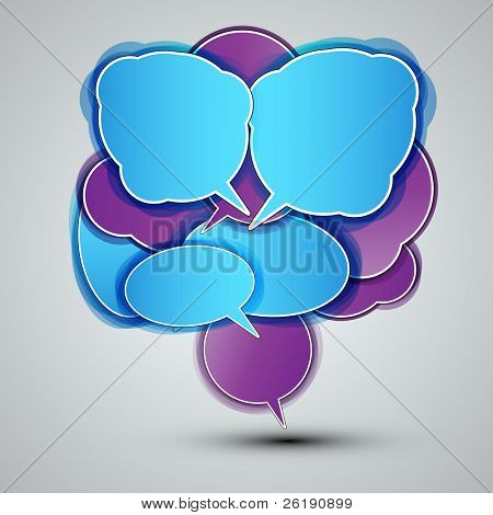 EPS10 Colorful Speech Bubbles with Shadows - Labels Vector