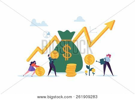 Investment Financial Concept. Business People Increasing Capital And Profits. Wealth And Savings Wit