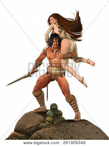 A Barbarian Fantasy Warrior Or Warlord Fights With His Sword For A Beautiful Princess, 3d Render Pai