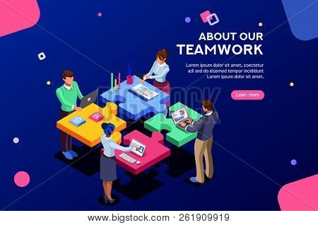 Startup Employees. Goal Thinking, Infographic Of Puzzle. Cooperation Construction By Agency Group To
