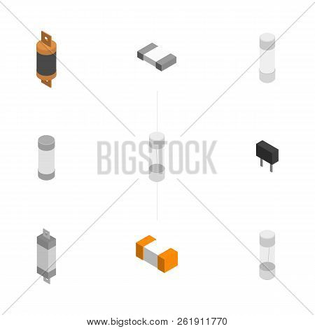 Set Of Fuses Of Different Shapes Isolated On White Background. Elements Design Of Electronic Compone