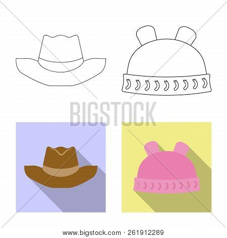 Vector Illustration Of Headgear And Cap Logo. Collection Of Headgear And Accessory Vector Icon For S