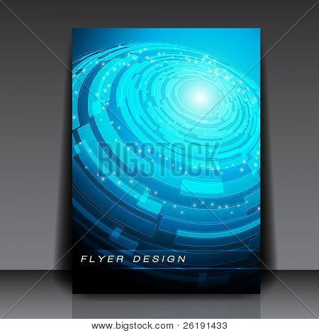Blue Globe - Technology Vector Flyer Design