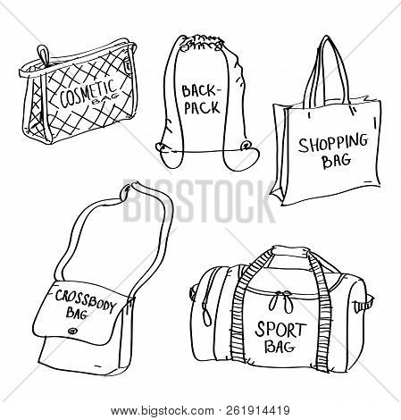 Set Of Hand Drawn Bags Doodles Isolated On A White Background. Vector Illustration Of Cosmetic Bag,